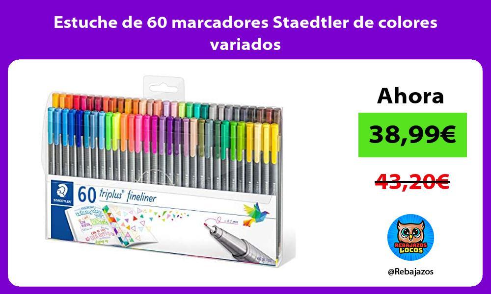 Estuche de 60 marcadores Staedtler de colores variados