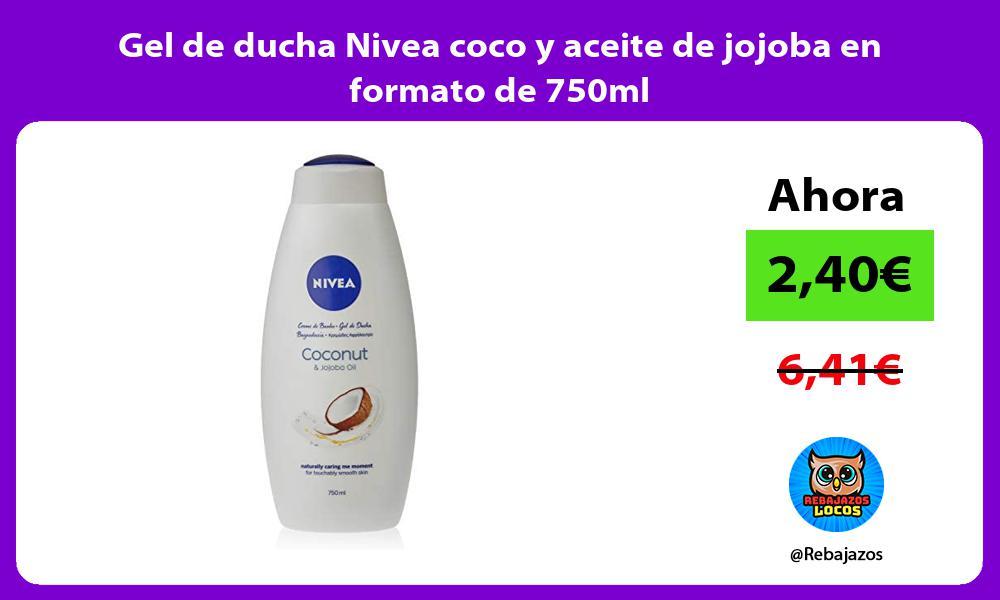 Gel de ducha Nivea coco y aceite de jojoba en formato de 750ml