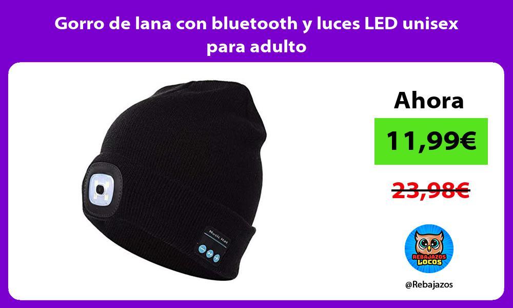Gorro de lana con bluetooth y luces LED unisex para adulto