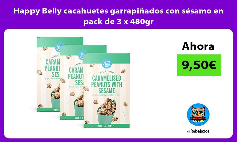Happy Belly cacahuetes garrapinados con sesamo en pack de 3 x 480gr