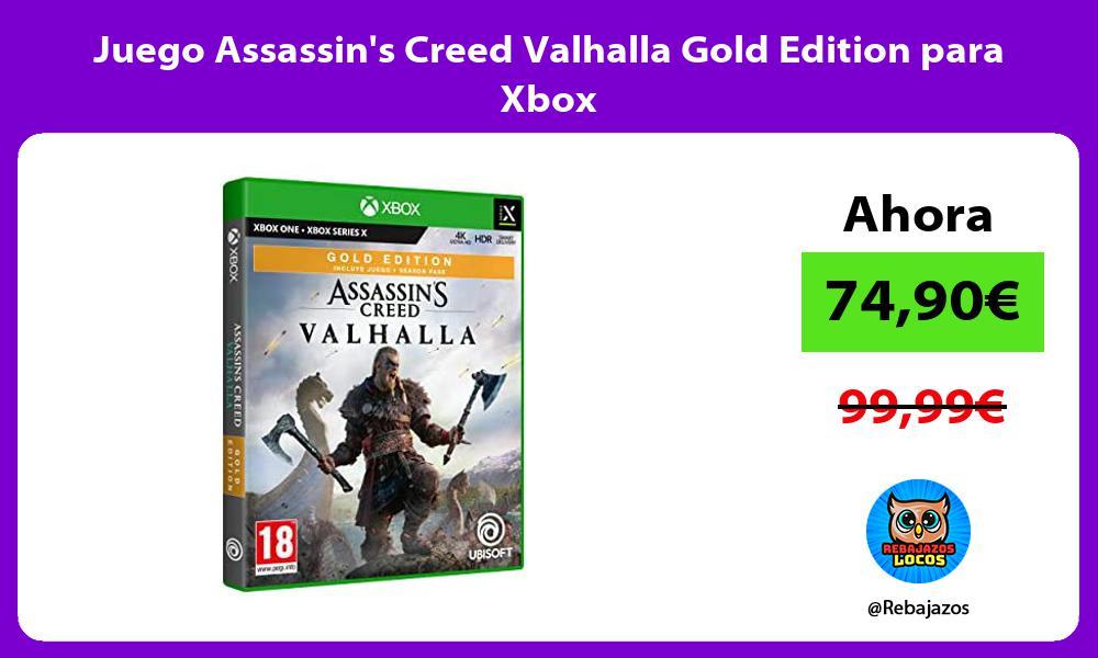 Juego Assassins Creed Valhalla Gold Edition para Xbox