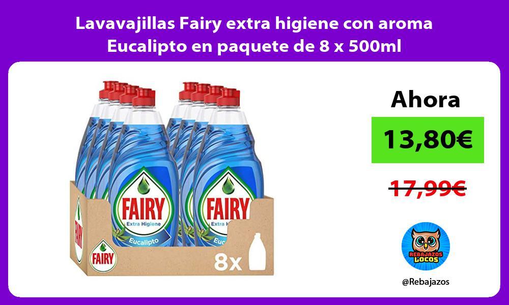 Lavavajillas Fairy extra higiene con aroma Eucalipto en paquete de 8 x 500ml