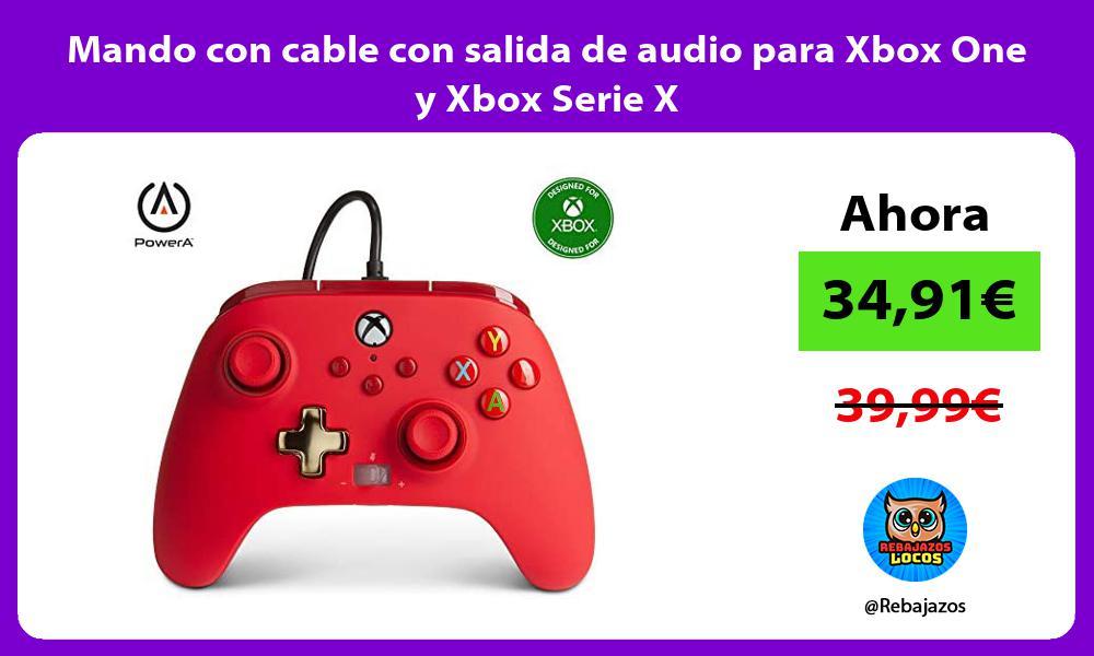 Mando con cable con salida de audio para Xbox One y Xbox Serie X