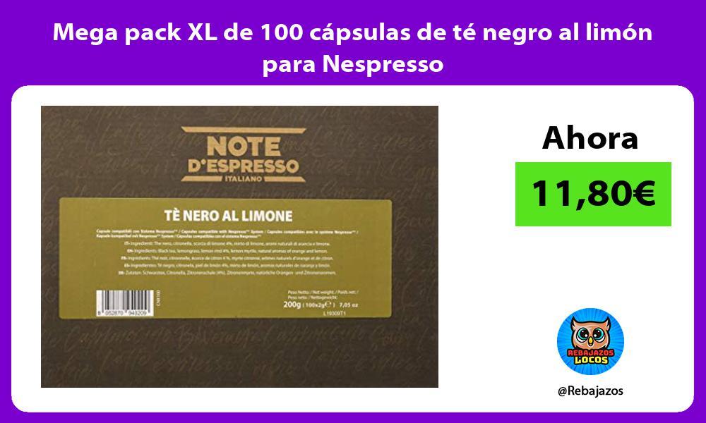 Mega pack XL de 100 capsulas de te negro al limon para Nespresso