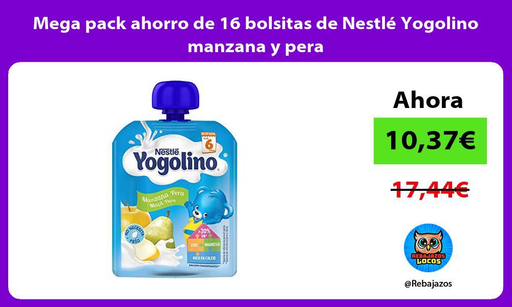 Mega pack ahorro de 16 bolsitas de Nestle Yogolino manzana y pera