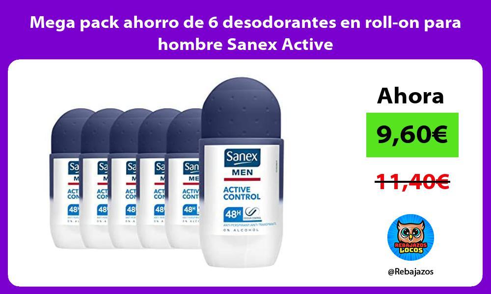 Mega pack ahorro de 6 desodorantes en roll on para hombre Sanex Active