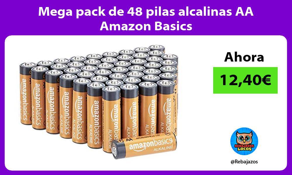 Mega pack de 48 pilas alcalinas AA Amazon Basics