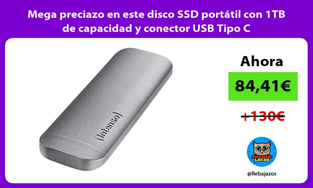 Mega preciazo en este disco SSD portatil con 1TB de capacidad y conector USB Tipo C