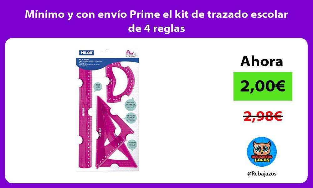 Minimo y con envio Prime el kit de trazado escolar de 4 reglas