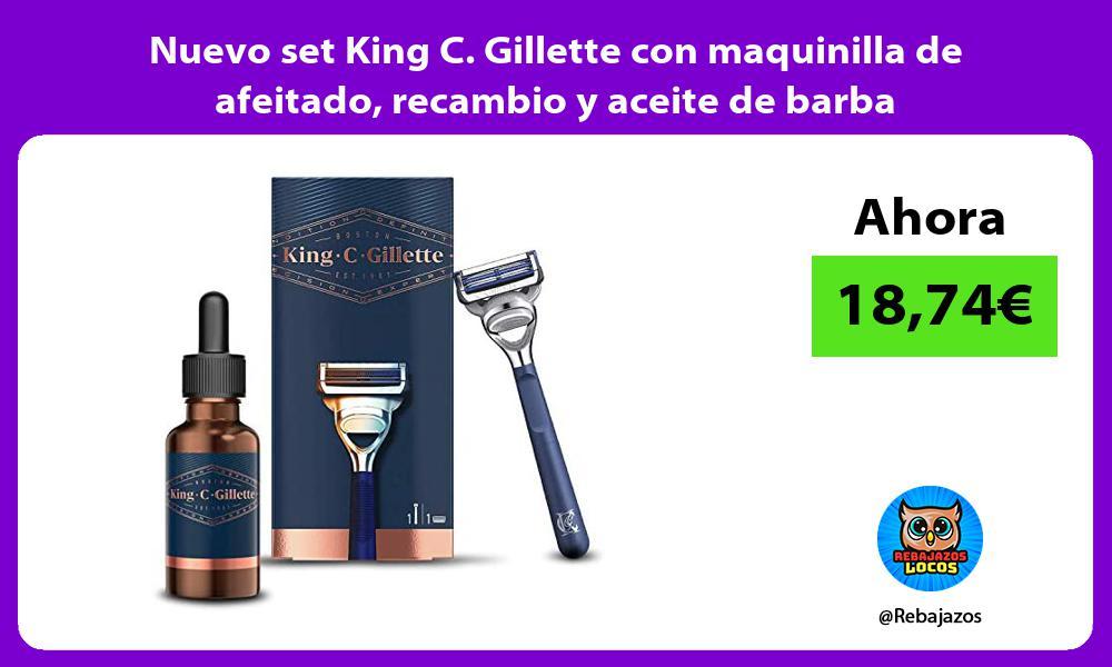 Nuevo set King C Gillette con maquinilla de afeitado recambio y aceite de barba
