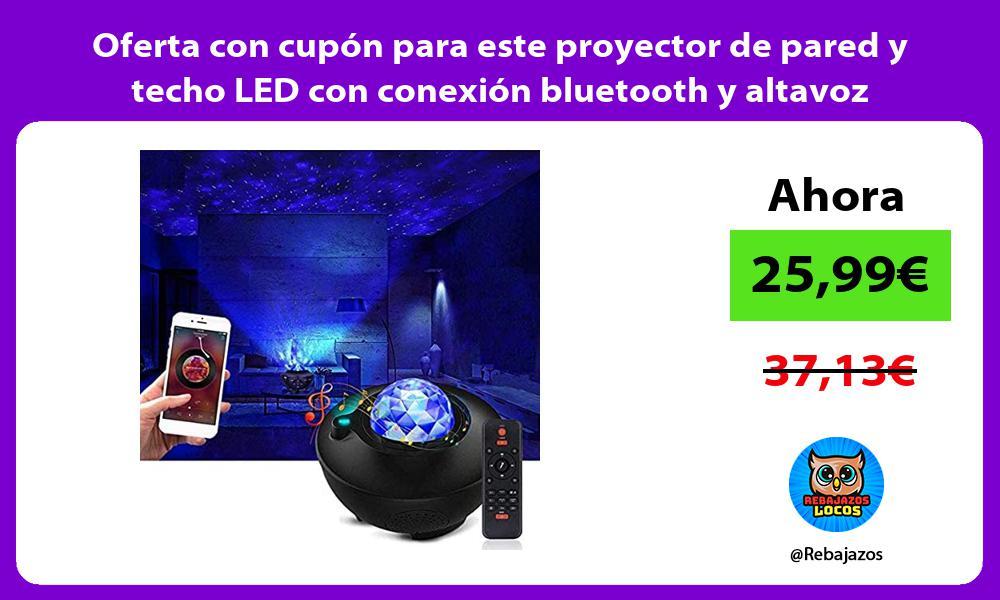 Oferta con cupon para este proyector de pared y techo LED con conexion bluetooth y altavoz