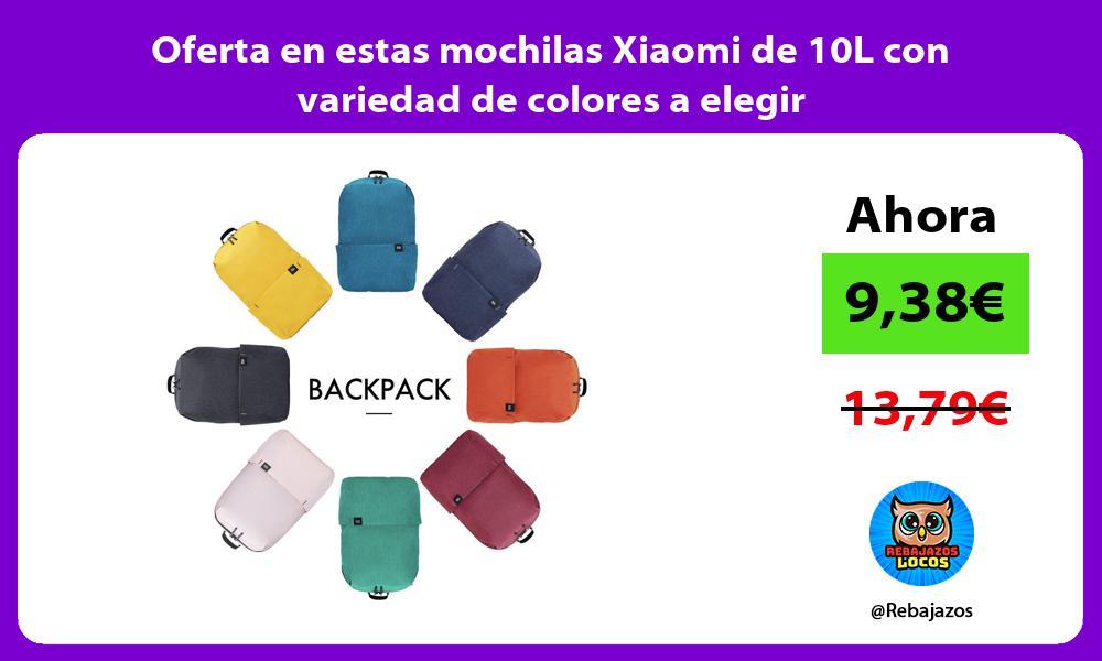 Oferta en estas mochilas Xiaomi de 10L con variedad de colores a elegir
