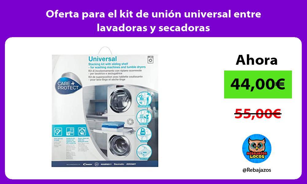 Oferta para el kit de union universal entre lavadoras y secadoras