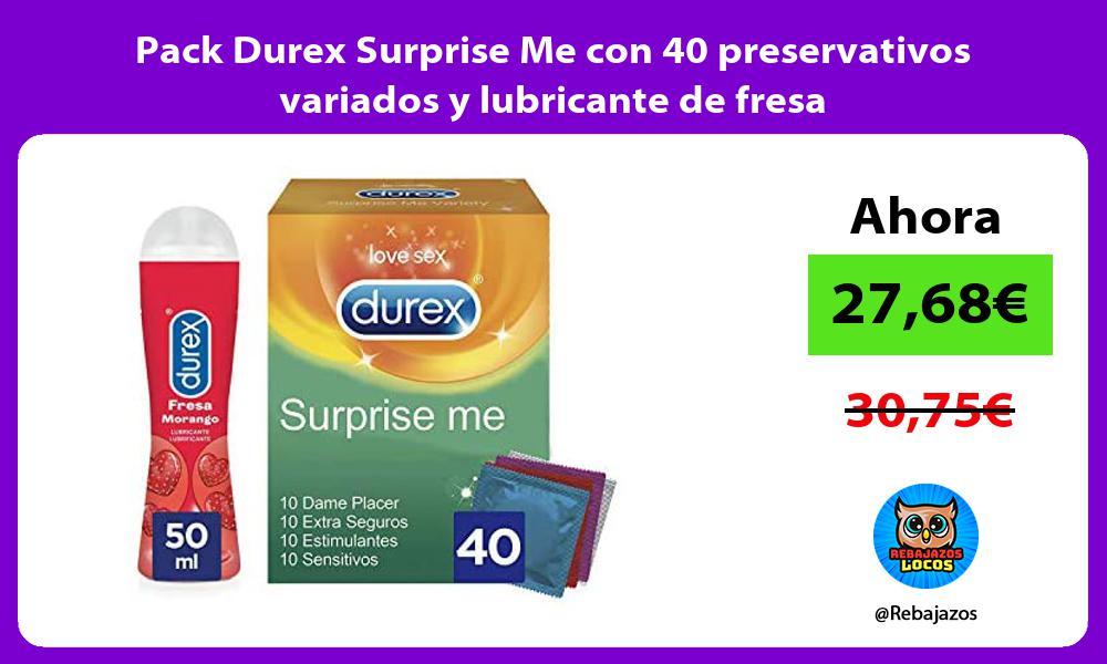 Pack Durex Surprise Me con 40 preservativos variados y lubricante de fresa