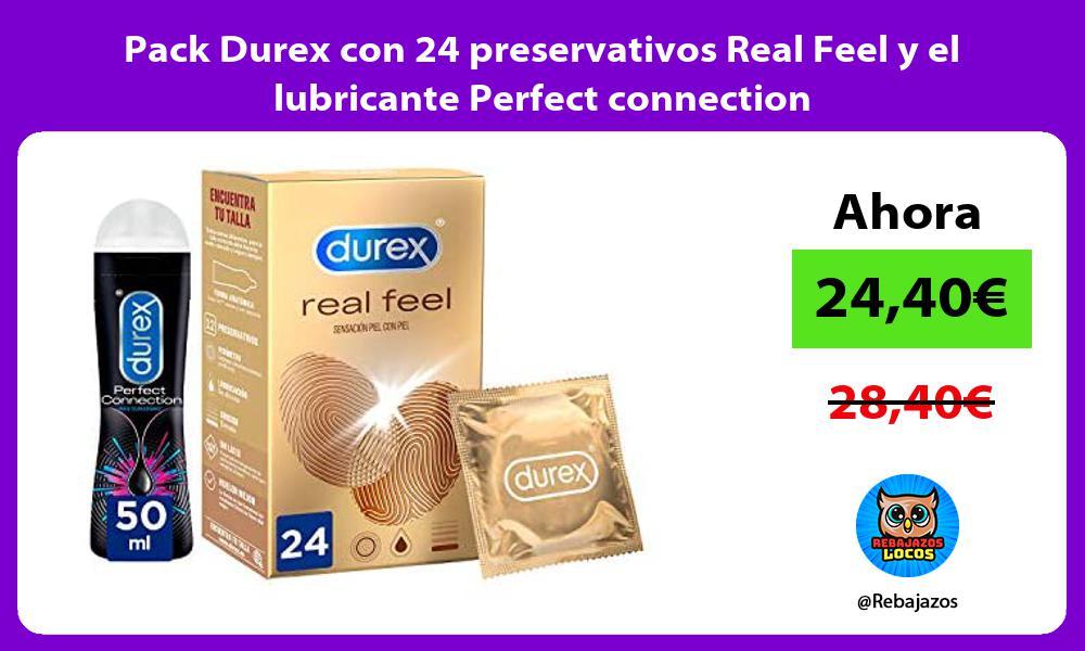 Pack Durex con 24 preservativos Real Feel y el lubricante Perfect connection