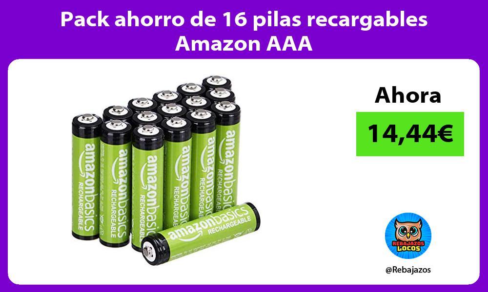 Pack ahorro de 16 pilas recargables Amazon AAA