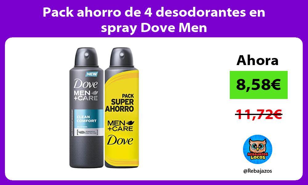 Pack ahorro de 4 desodorantes en spray Dove Men