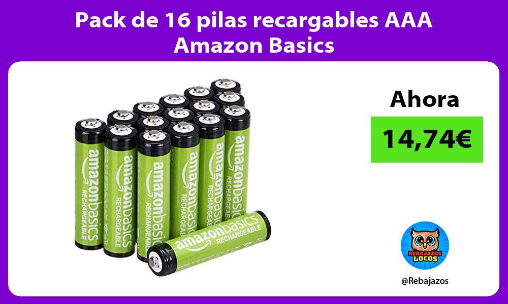 Pack de 16 pilas recargables AAA Amazon Basics