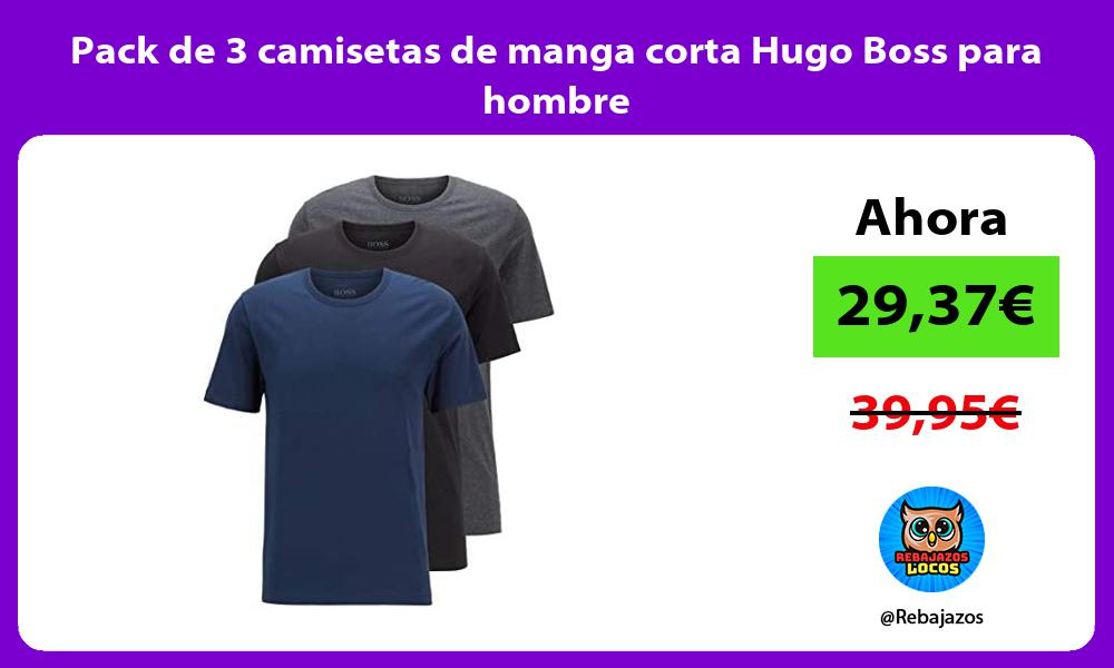 Pack de 3 camisetas de manga corta Hugo Boss para hombre