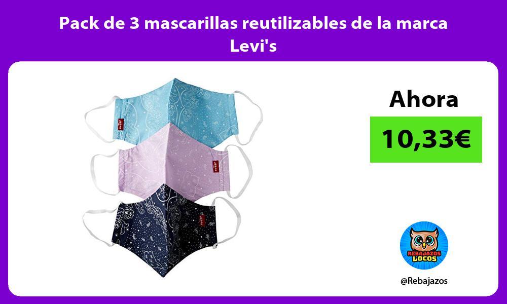 Pack de 3 mascarillas reutilizables de la marca Levis