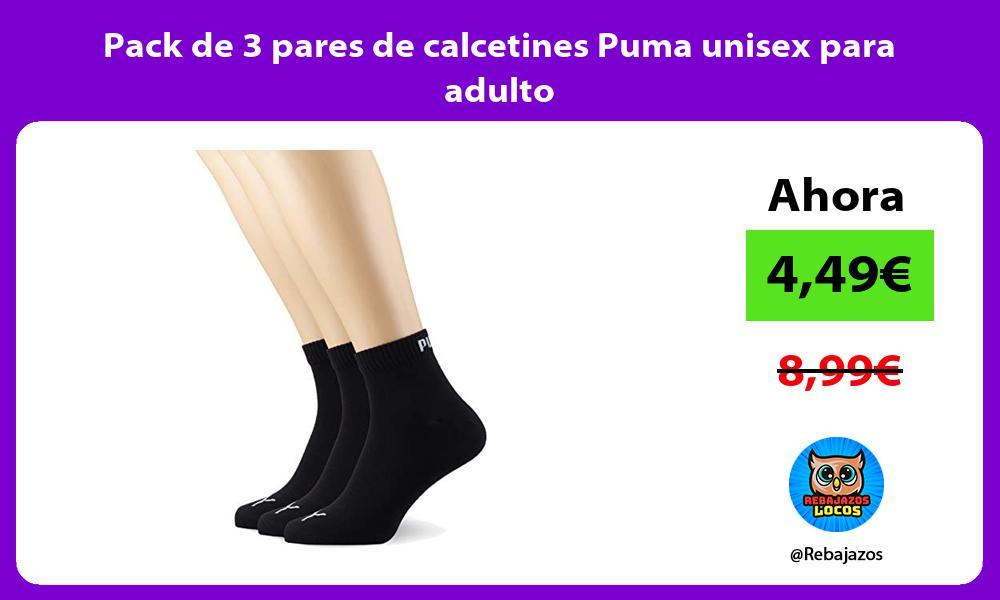 Pack de 3 pares de calcetines Puma unisex para adulto