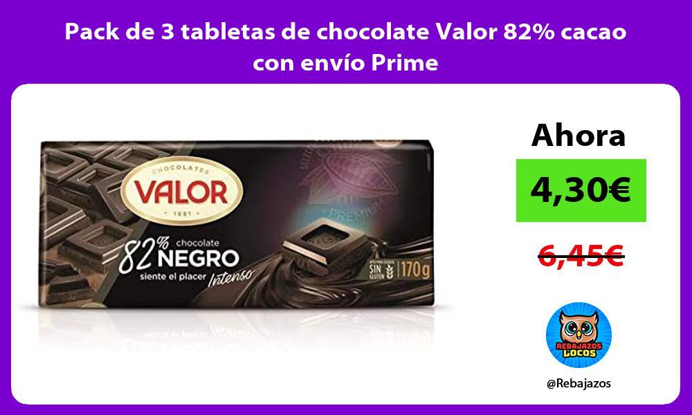 Pack de 3 tabletas de chocolate Valor 82 cacao con envio Prime