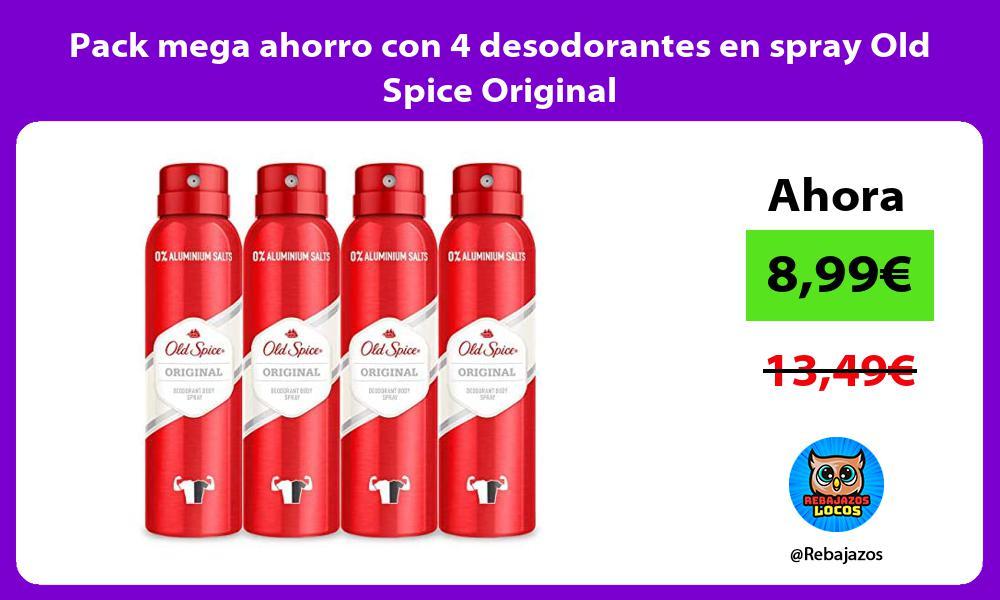 Pack mega ahorro con 4 desodorantes en spray Old Spice Original