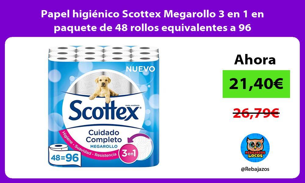 Papel higienico Scottex Megarollo 3 en 1 en paquete de 48 rollos equivalentes a 96