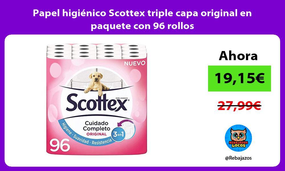 Papel higienico Scottex triple capa original en paquete con 96 rollos