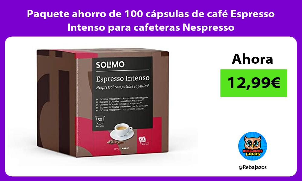 Paquete ahorro de 100 capsulas de cafe Espresso Intenso para cafeteras Nespresso
