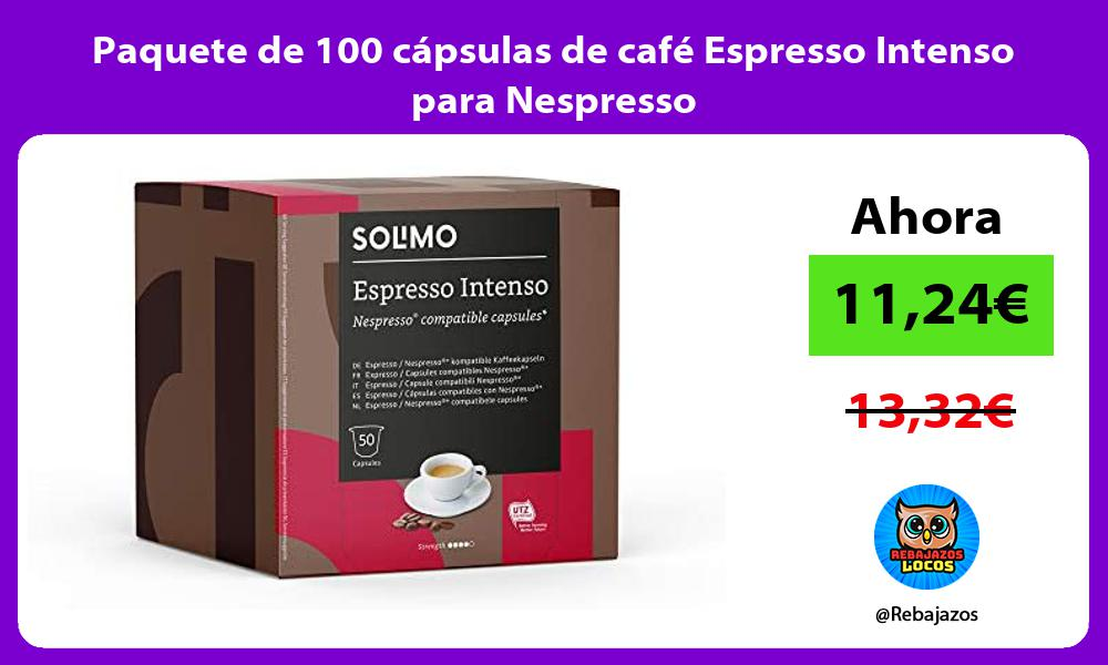 Paquete de 100 capsulas de cafe Espresso Intenso para Nespresso