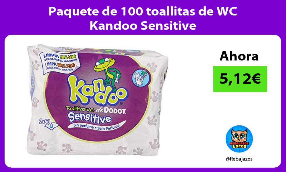 Paquete de 100 toallitas de WC Kandoo Sensitive