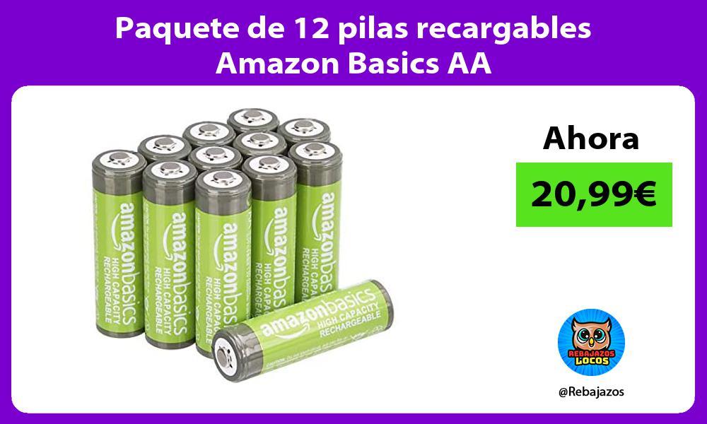 Paquete de 12 pilas recargables Amazon Basics AA