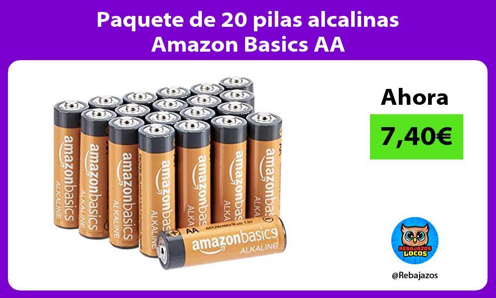 Paquete de 20 pilas alcalinas Amazon Basics AA