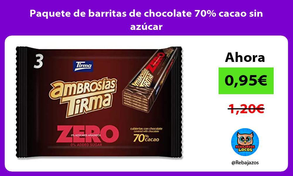 Paquete de barritas de chocolate 70 cacao sin azucar