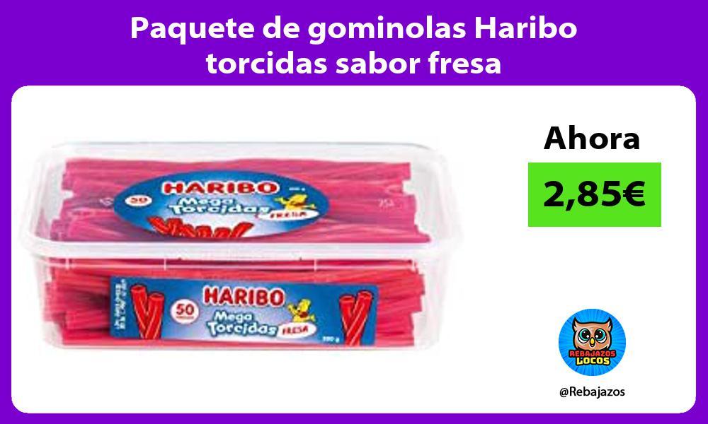 Paquete de gominolas Haribo torcidas sabor fresa