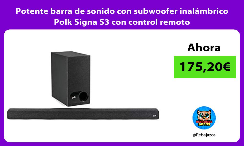 Potente barra de sonido con subwoofer inalambrico Polk Signa S3 con control remoto