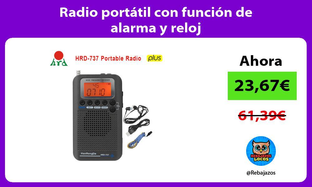 Radio portatil con funcion de alarma y reloj