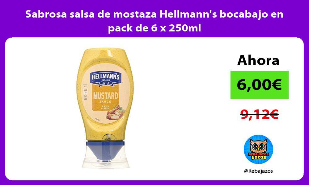 Sabrosa salsa de mostaza Hellmanns bocabajo en pack de 6 x 250ml