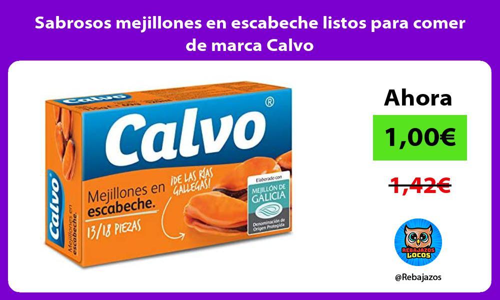 Sabrosos mejillones en escabeche listos para comer de marca Calvo