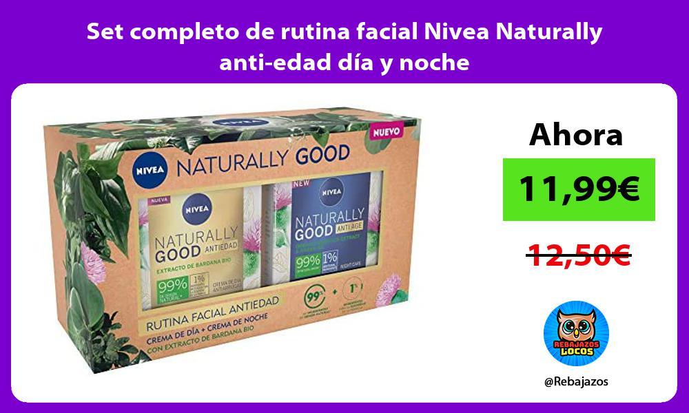 Set completo de rutina facial Nivea Naturally anti edad dia y noche