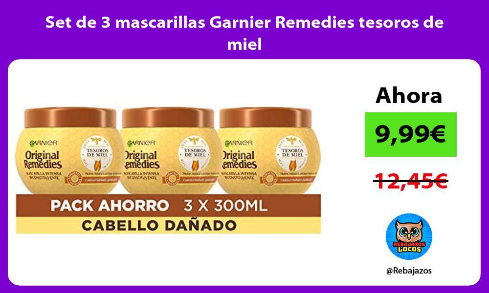 Set de 3 mascarillas Garnier Remedies tesoros de miel