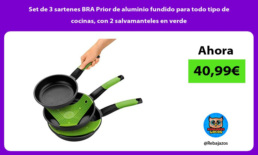 Set de 3 sartenes BRA Prior de aluminio fundido para todo tipo de cocinas con 2 salvamanteles en verde