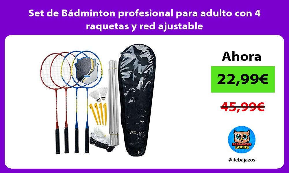 Set de Badminton profesional para adulto con 4 raquetas y red ajustable