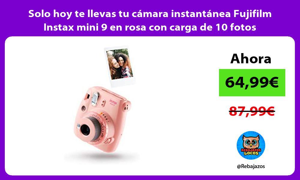 Solo hoy te llevas tu camara instantanea Fujifilm Instax mini 9 en rosa con carga de 10 fotos