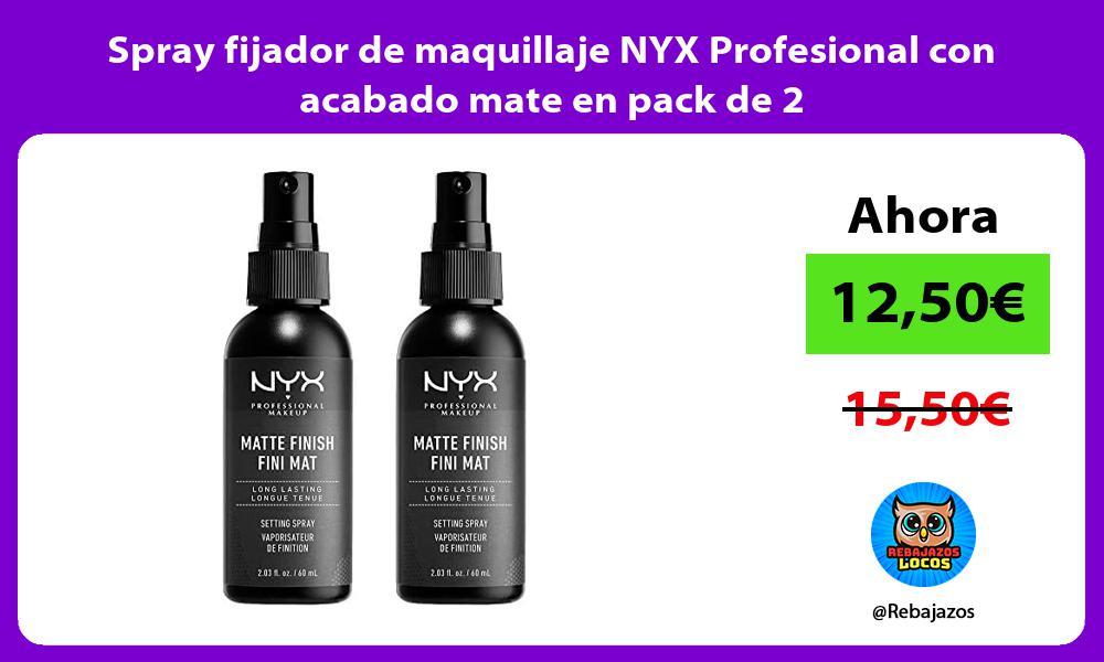 Spray fijador de maquillaje NYX Profesional con acabado mate en pack de 2