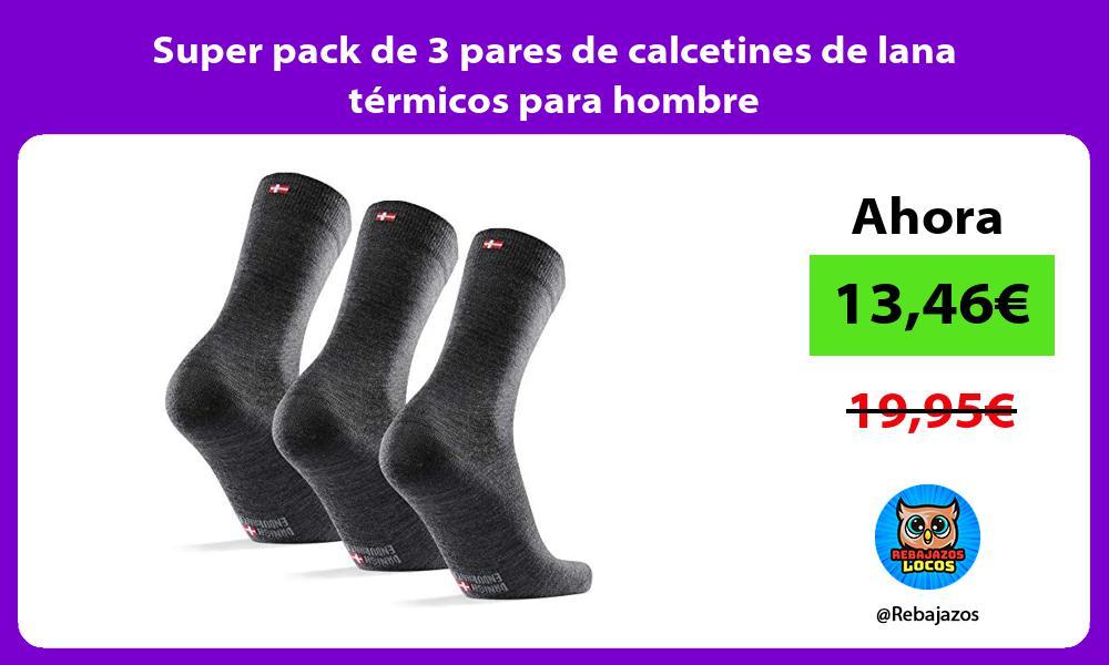 Super pack de 3 pares de calcetines de lana termicos para hombre