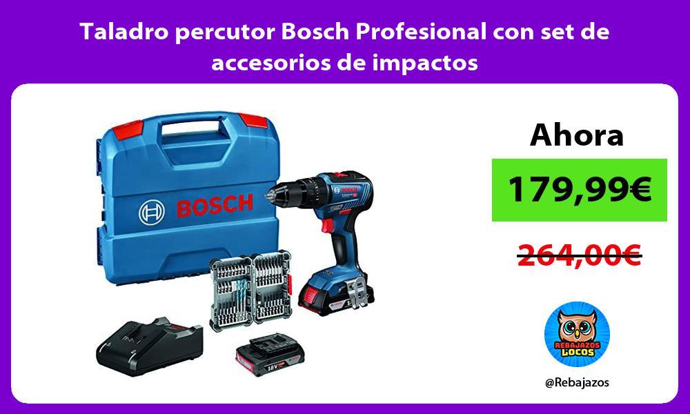 Taladro percutor Bosch Profesional con set de accesorios de impactos