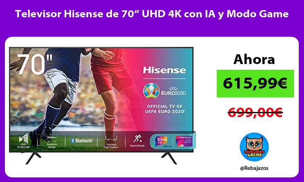 Televisor Hisense de 70 UHD 4K con IA y Modo Game