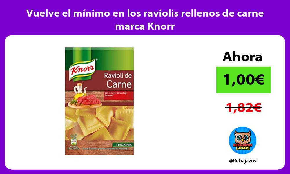 Vuelve el minimo en los raviolis rellenos de carne marca Knorr